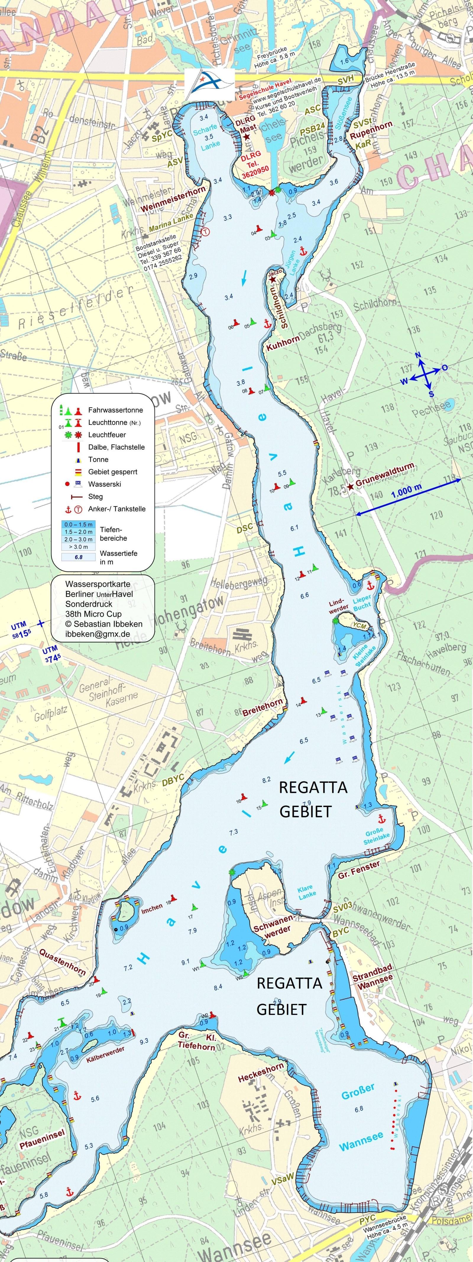 Wassersportkarte Berliner Unterhavel - Sonderdruck - © Sebastian Ibbeken